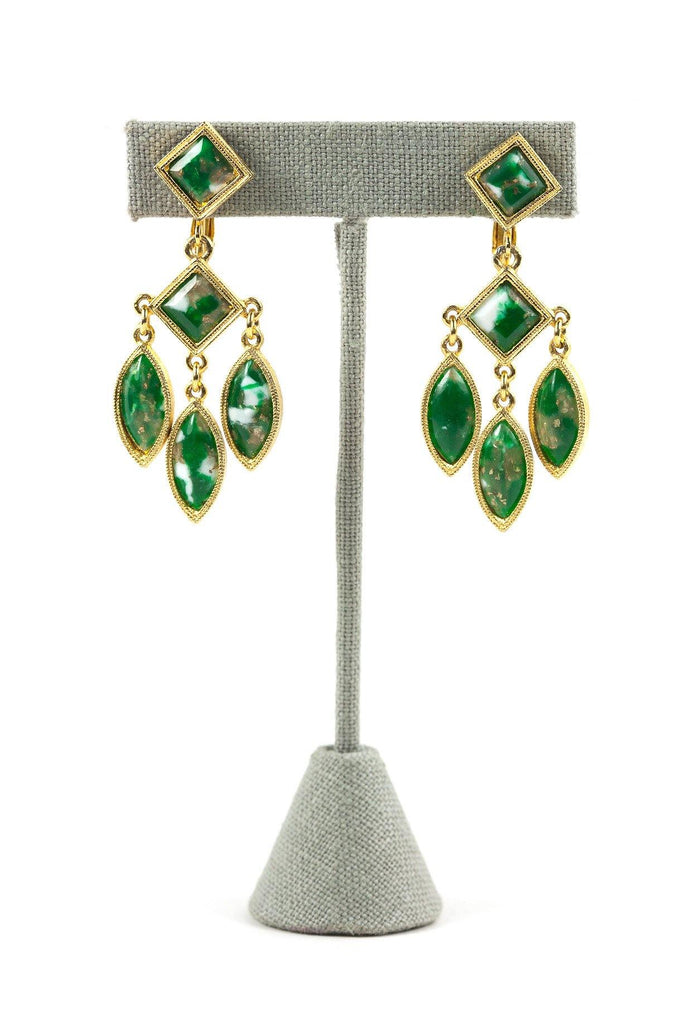 60's__Celebrity__Stone Drop Clip-On Earrings