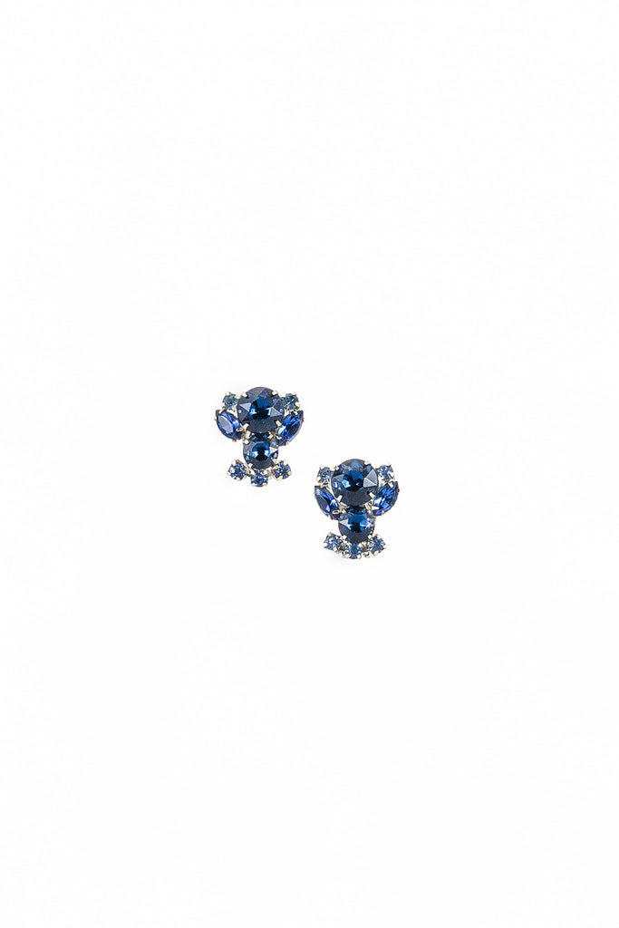 50's__Vintage__Blue Bumble Bee Rhinestone Earrings