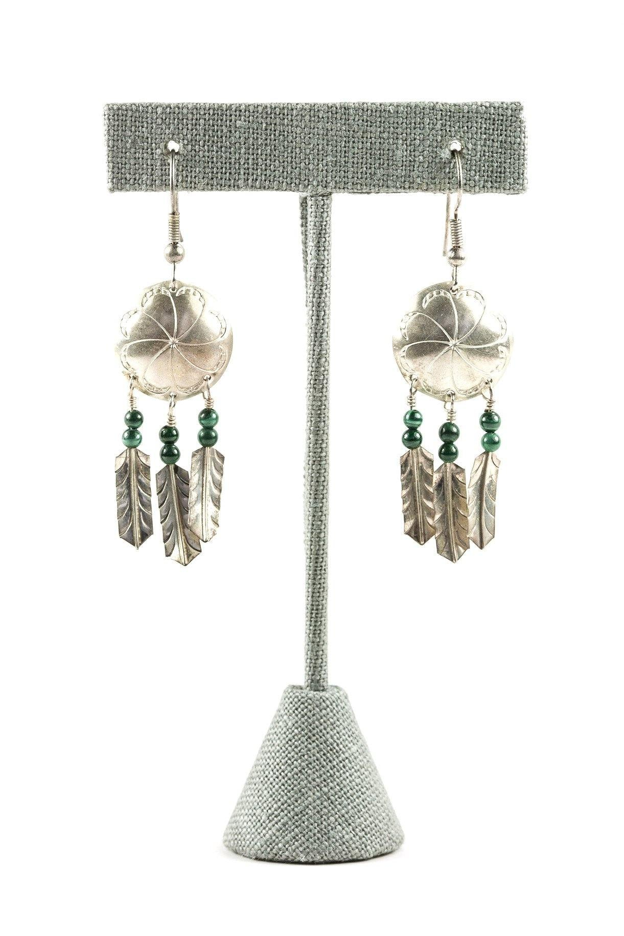 70's__Vintage__Tribal Sterling Drop Earrings