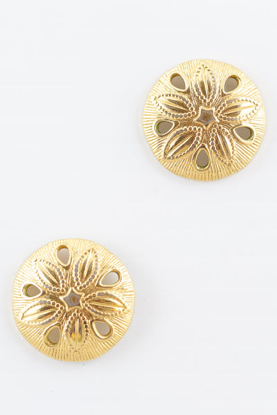 70's__Vintage__Sand Dollar Statement Earrings
