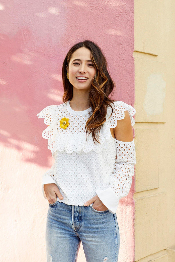 Eyelet Cold Shoulder Top
