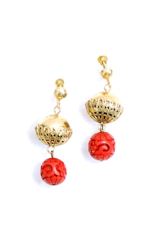 50's__Vintage__Ethnic-Inspired Drop Clip-On Earrings