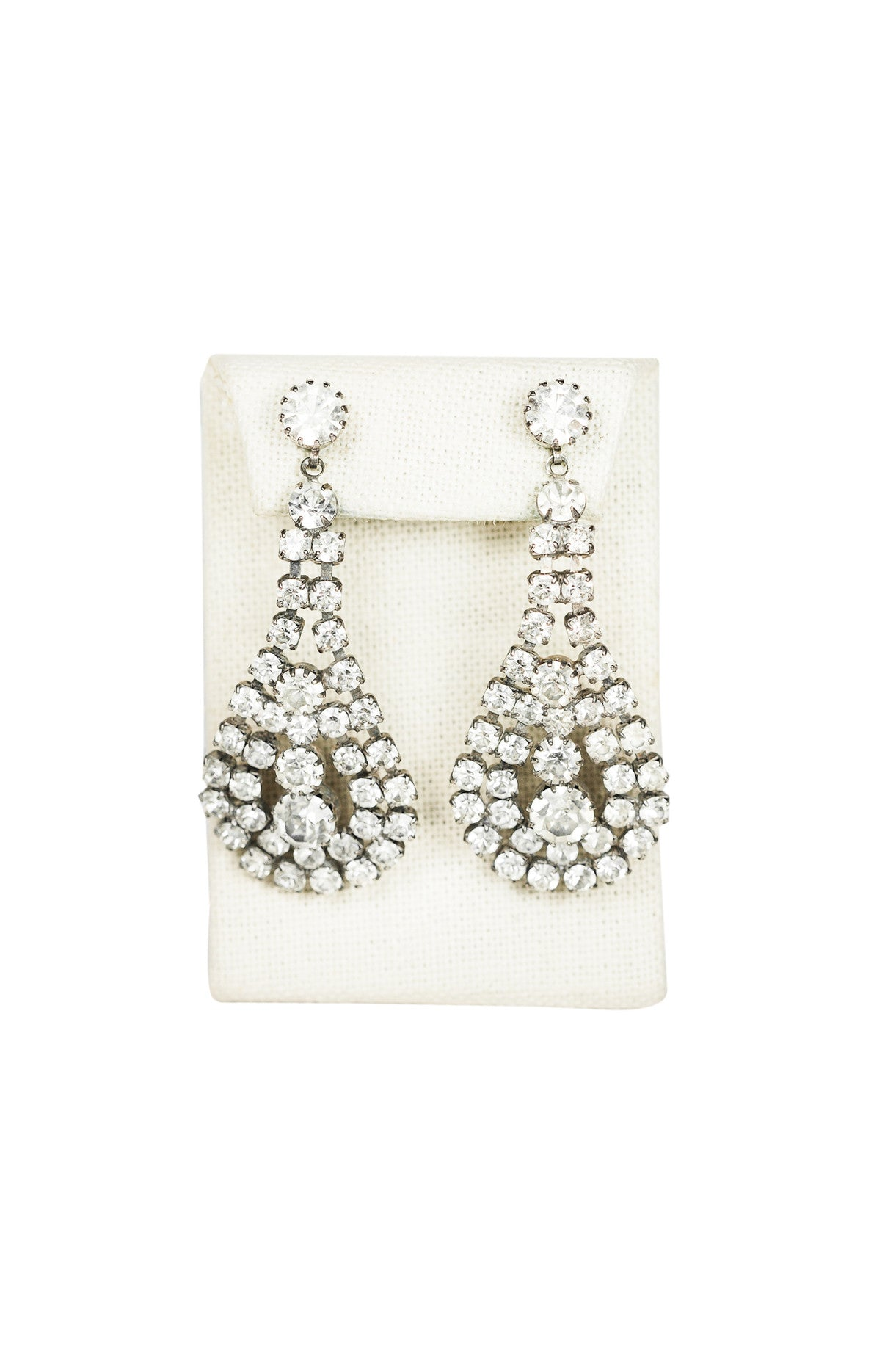 70's__Vintage__Rhinestone Shoulder Duster Earrings