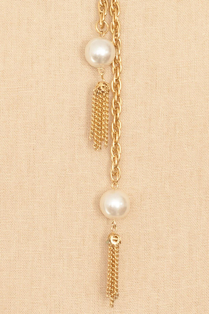 70's__Vintage__Pearl Lariat Necklace