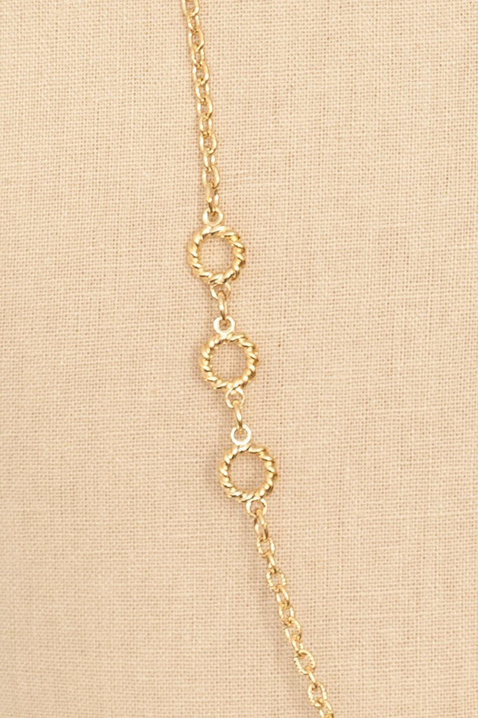 70's__Trifari__Long Knot Charm Necklace