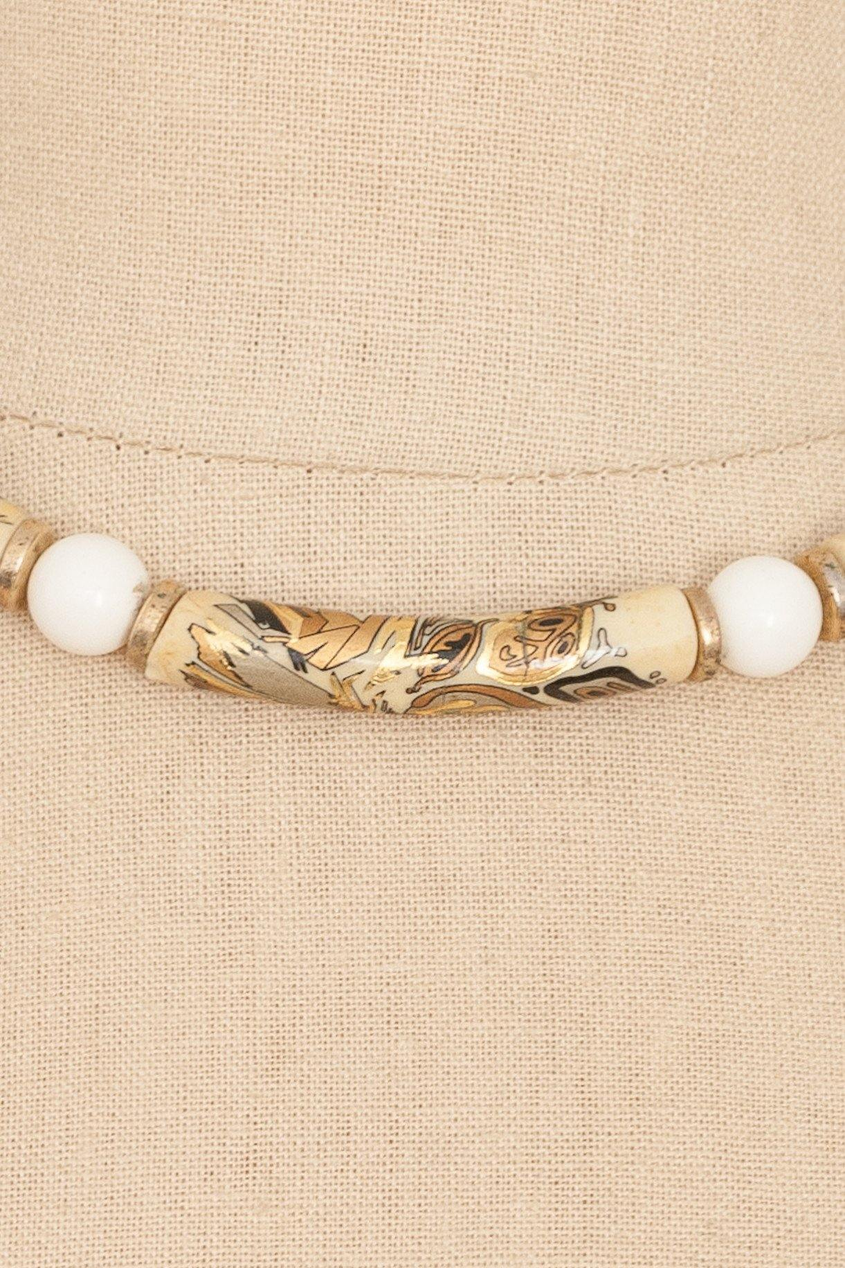 50's__Vintage__Painted Tube Necklace