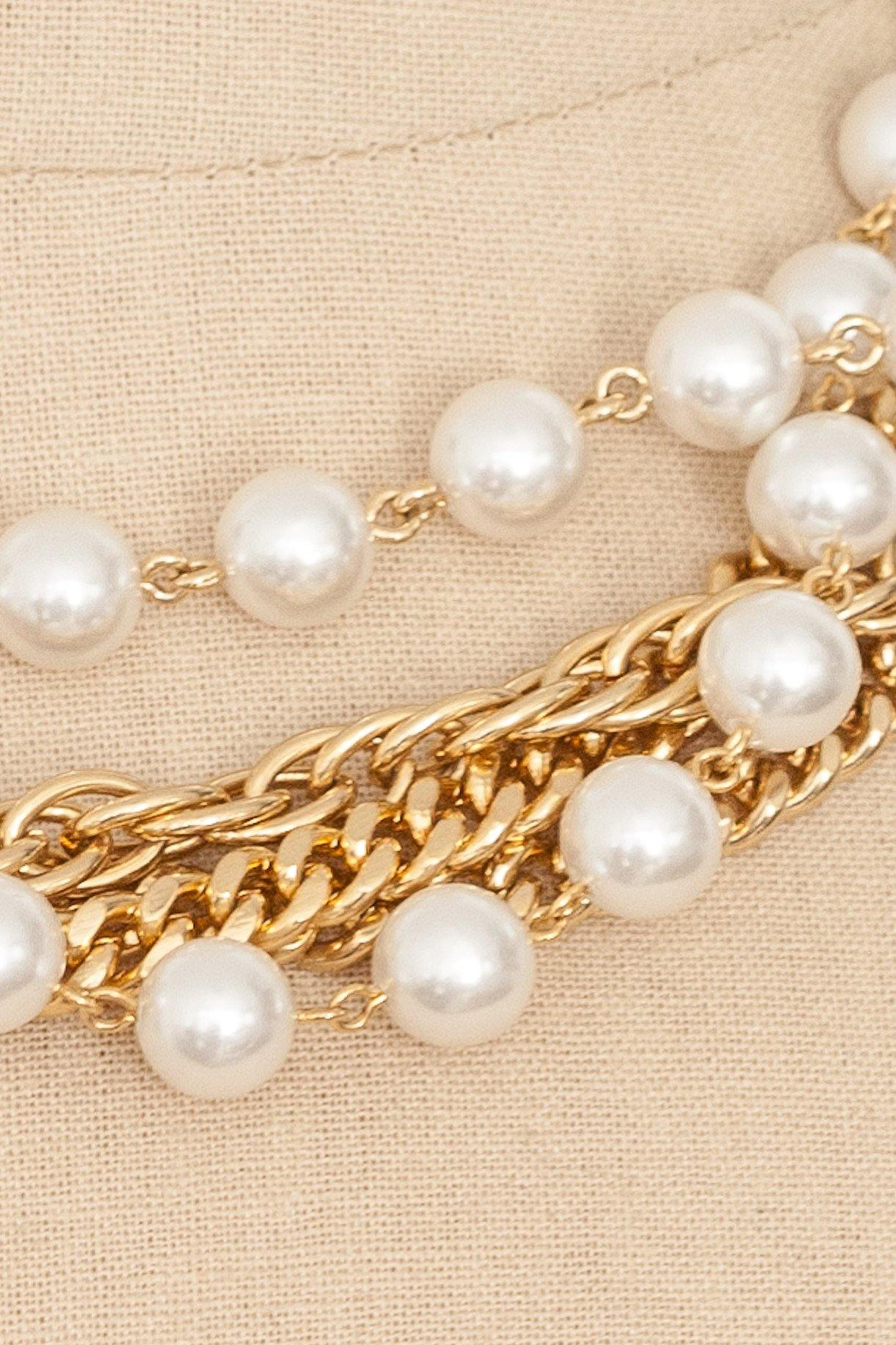 80's__Vintage__Pearl and Chain Necklace