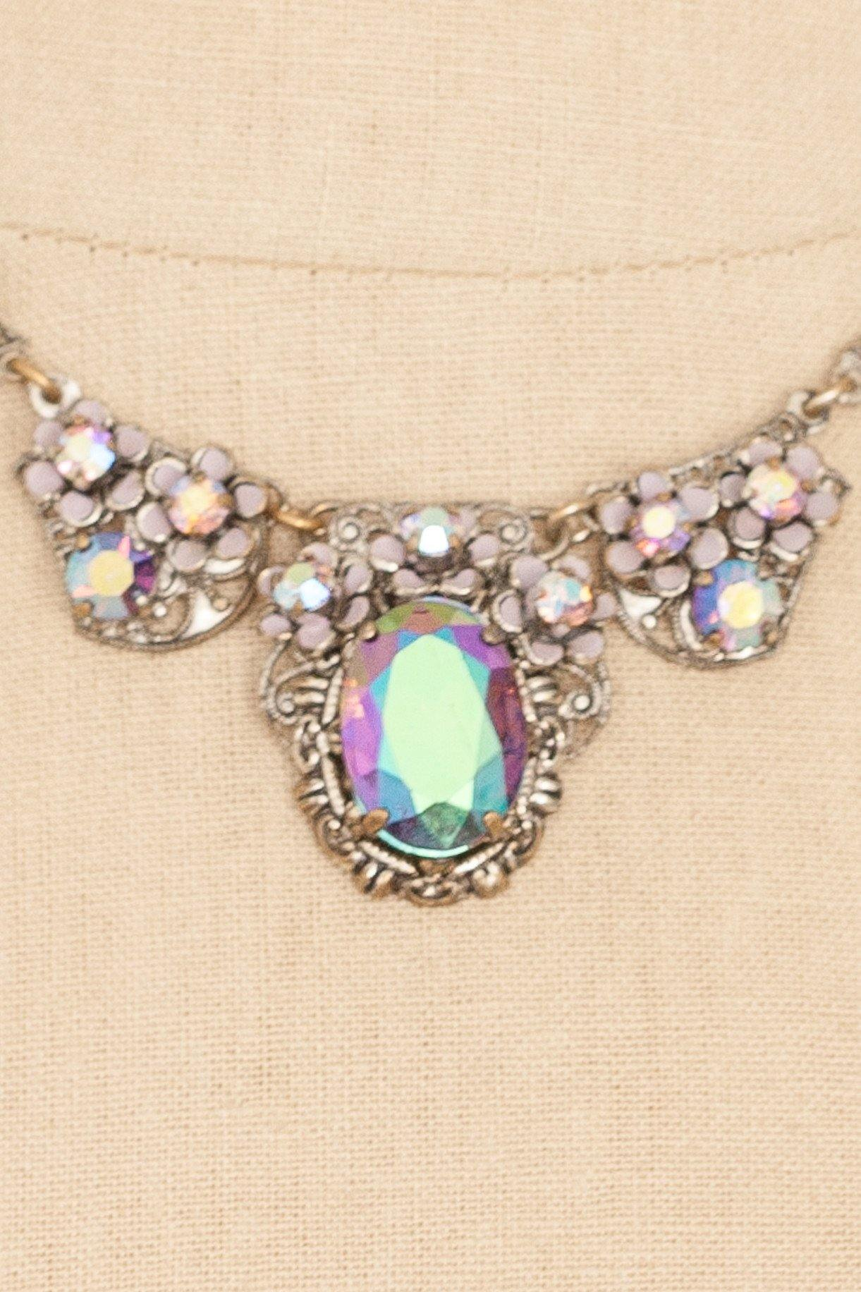 50's__Vintage__Iridescent Rhinestone Floral Necklace