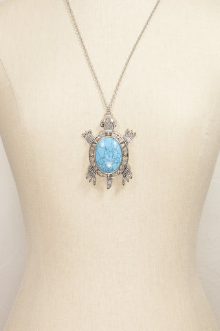 80's__CR__Turquoise Turtle Necklace