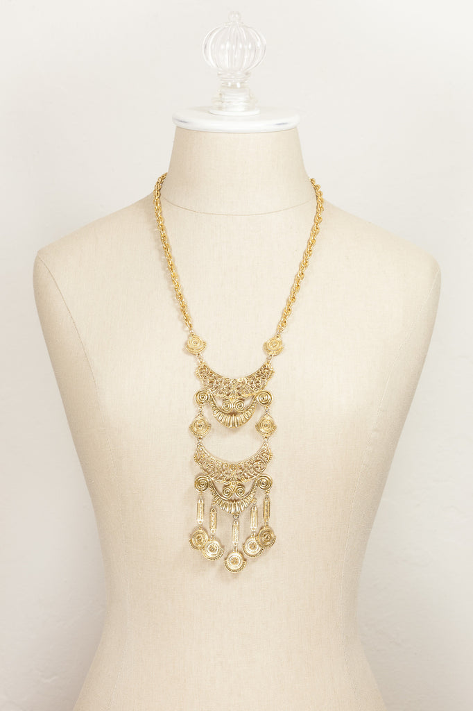 70's__Vintage__Medallion Statement Necklace