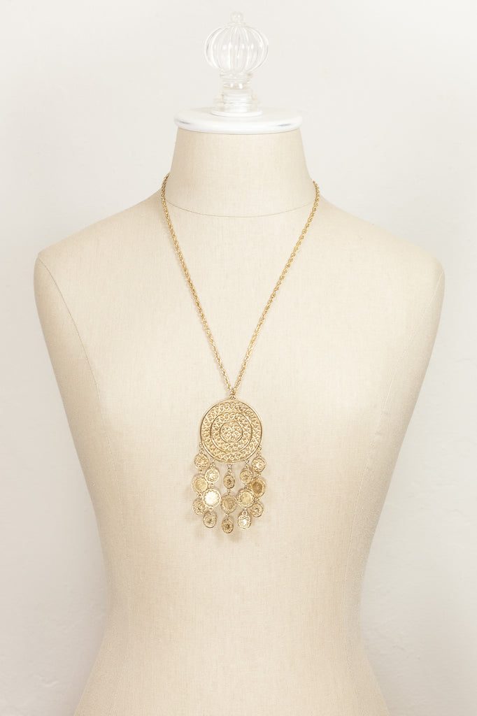 70's__Vintage__Medallion Fringe Necklace