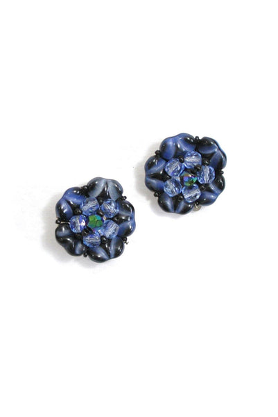 50's__Vintage__Beaded Floral Clip-On Earrings