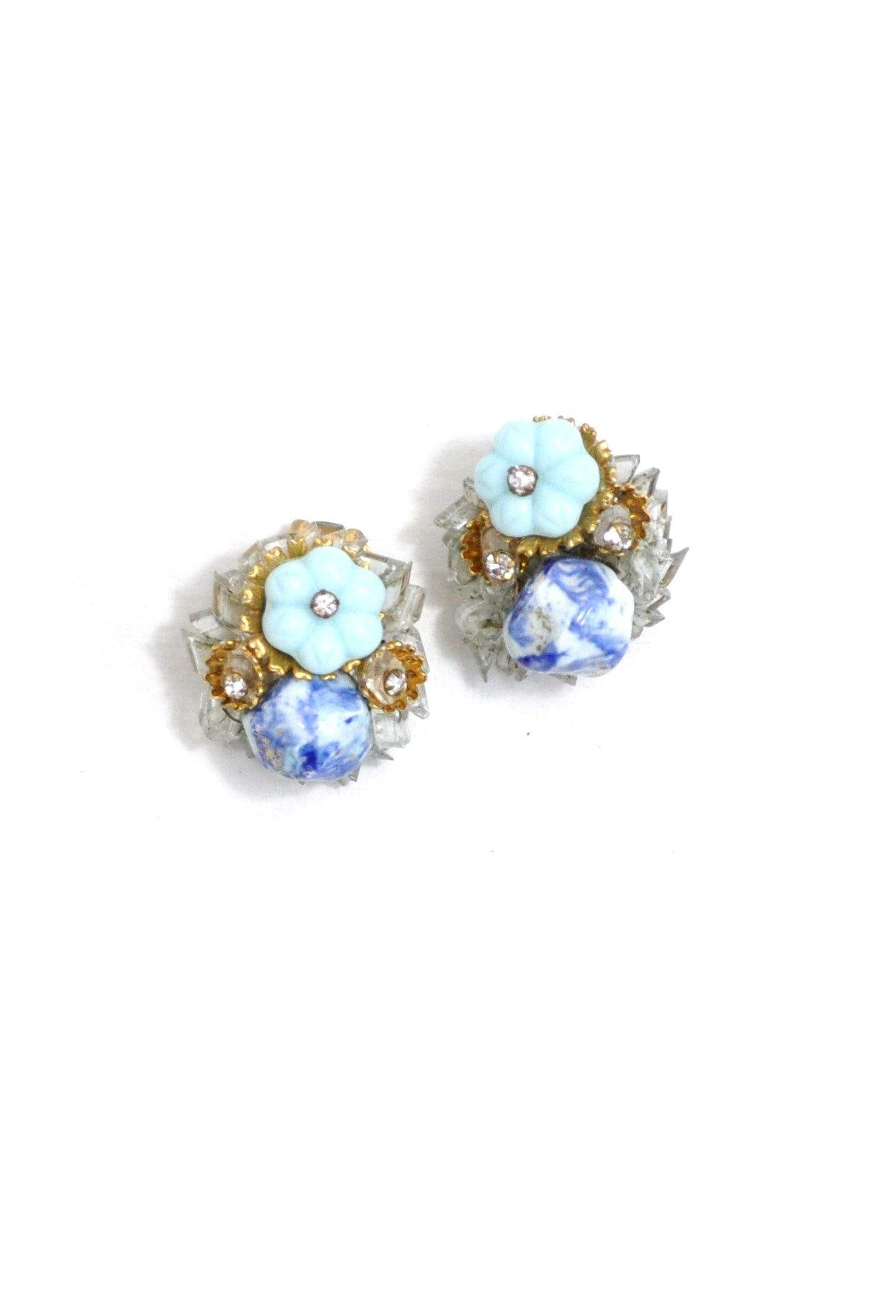 50's__Carnegie__Beaded Floral Clip-On Earrings