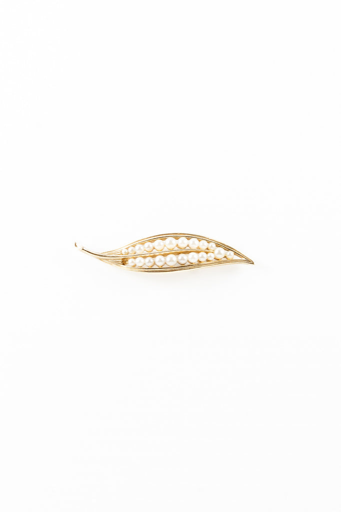 60's__Crown Trifari__Pearl Leaf Brooch