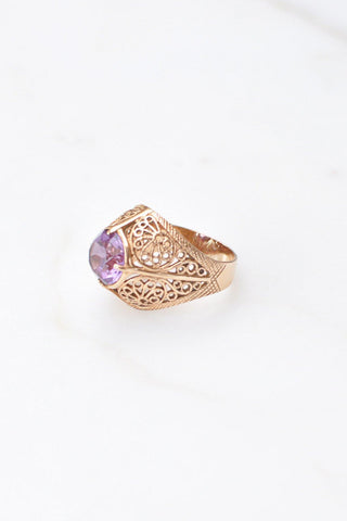 __Gold West Vintage__Amethyst Solitaire Ring