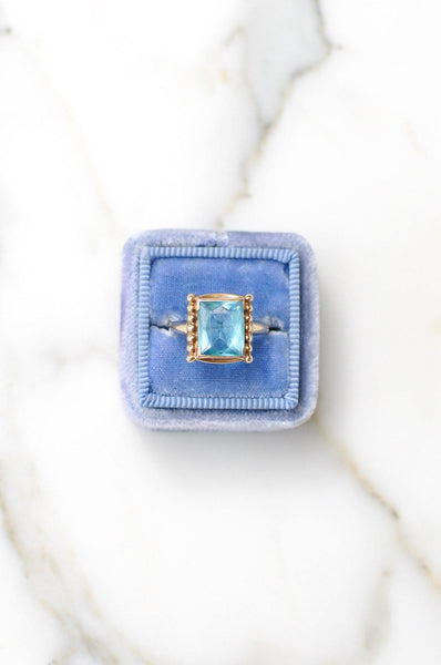 __Gold West Vintage__Blue Topaz Cocktail Ring