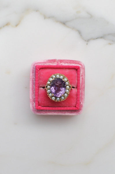 __Gold West Vintage__Amethyst and Pearl Cocktail Ring