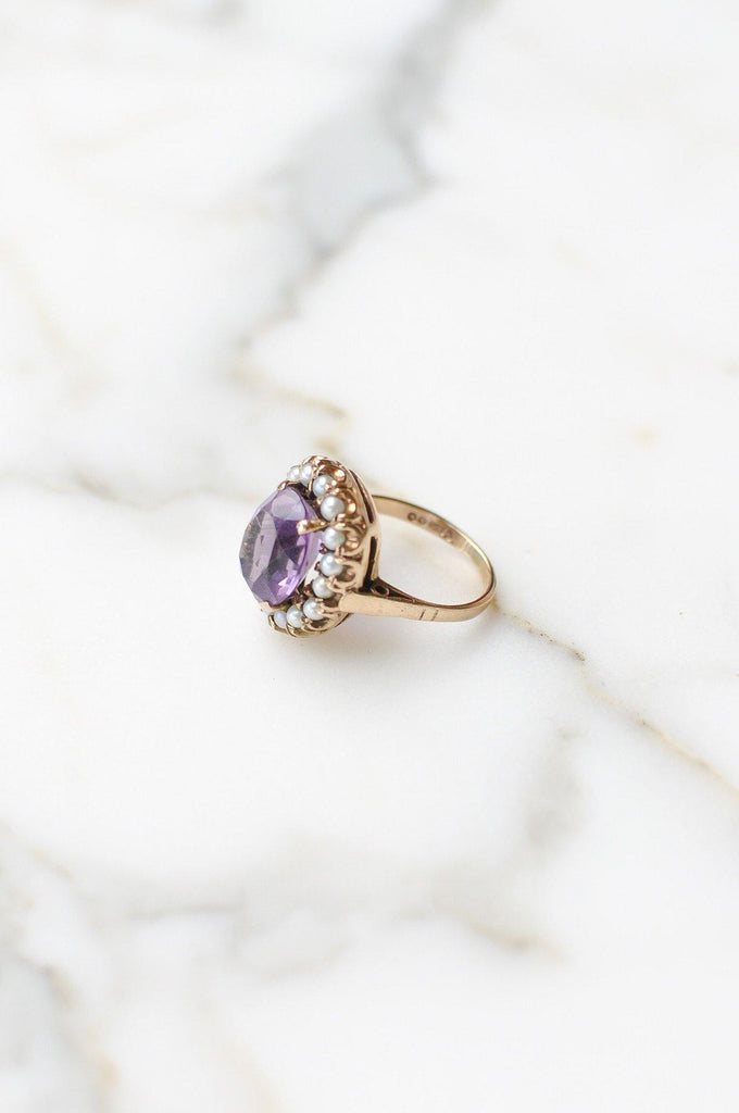 Amethyst and Pearl Cocktail Ring