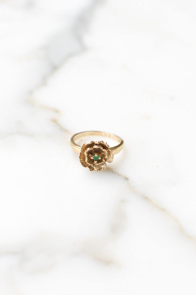Floral Emerald Cocktail Ring