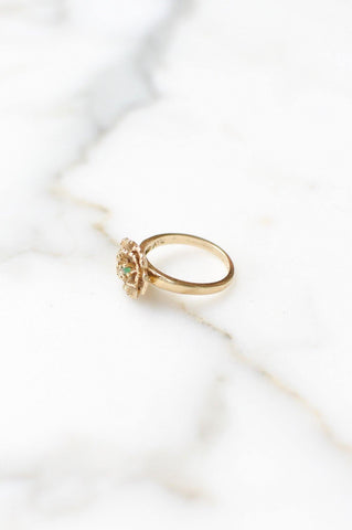__Gold West Vintage__Floral Emerald Cocktail Ring