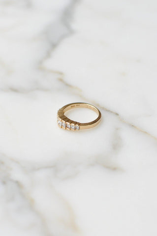 __Gold West Vintage__Stacked Diamond Banded Ring