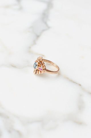 __Gold West Vintage__Sapphire & Ruby Cocktail Ring