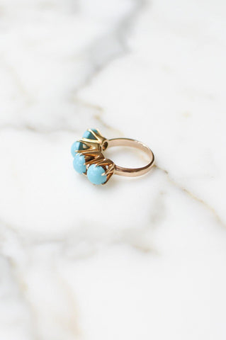 __Gold West Vintage__Raised Turquoise Ring
