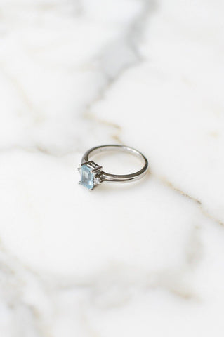 __Gold West Vintage__Aquamarine Diamond Ring