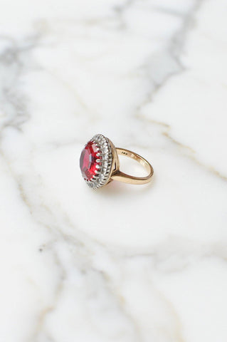 __Gold West Vintage__Red Solitaire Ring