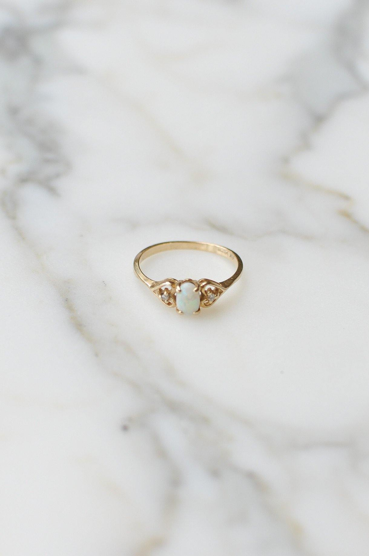 __Gold West Vintage__Opal and Diamond Layering Ring
