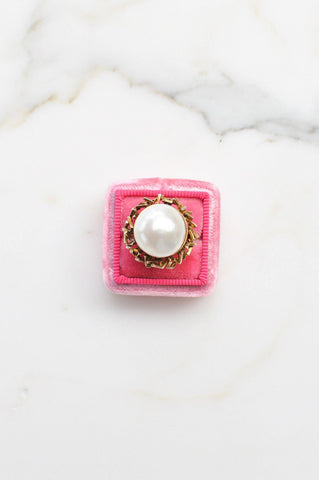 __Gold West Vintage__Mabe Pearl Cocktail Ring