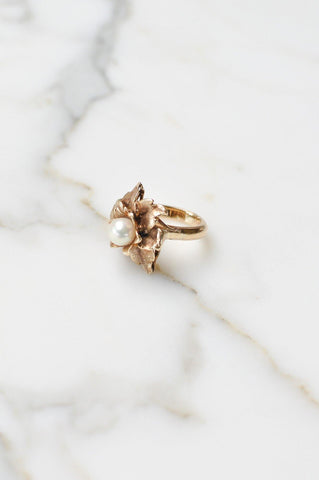 __Gold West Vintage__Floral Pearl Cocktail Ring