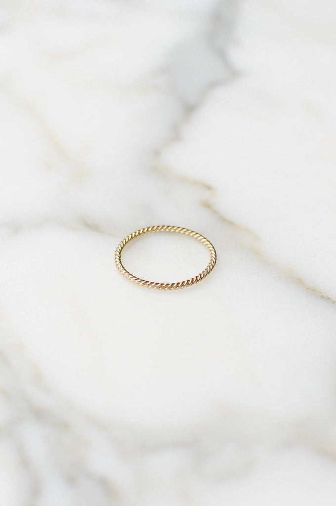 __Gold West Vintage__Stackable Gold Rope Band Ring