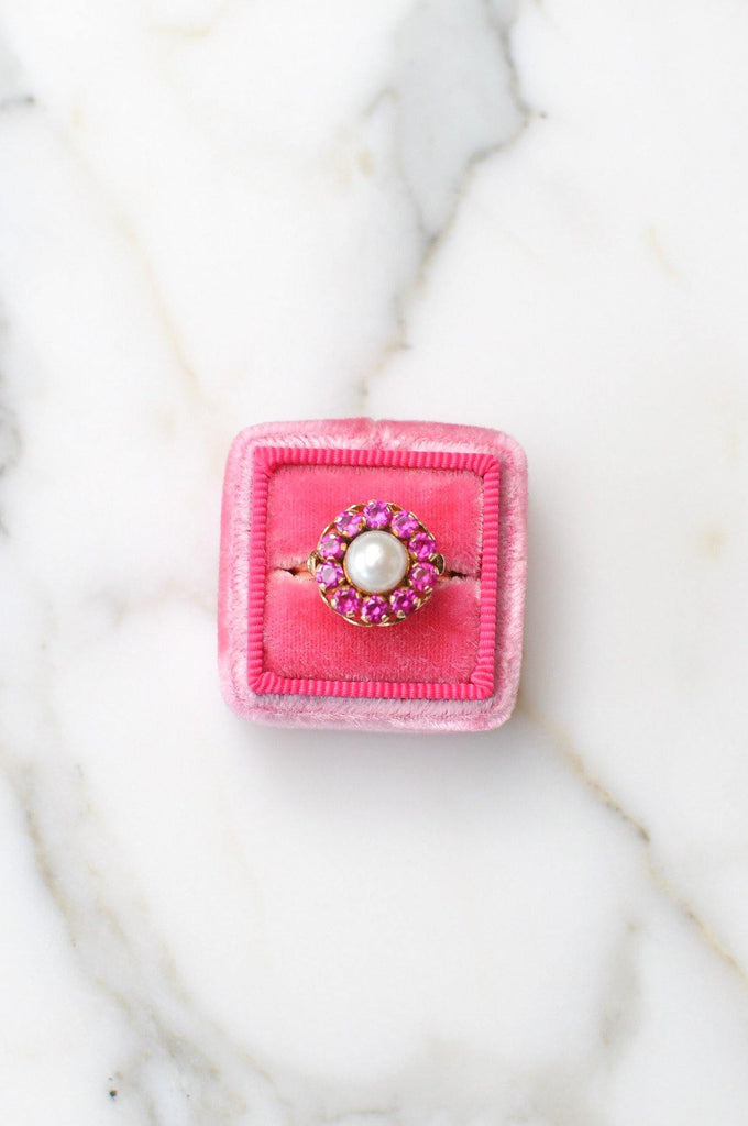 Mabe Pearl & Pink Stone Cocktail Ring