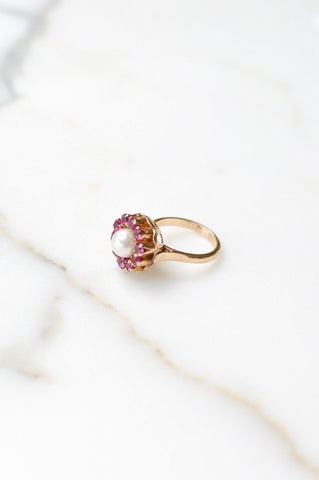 __Gold West Vintage__Mabe Pearl & Pink Stone Cocktail Ring