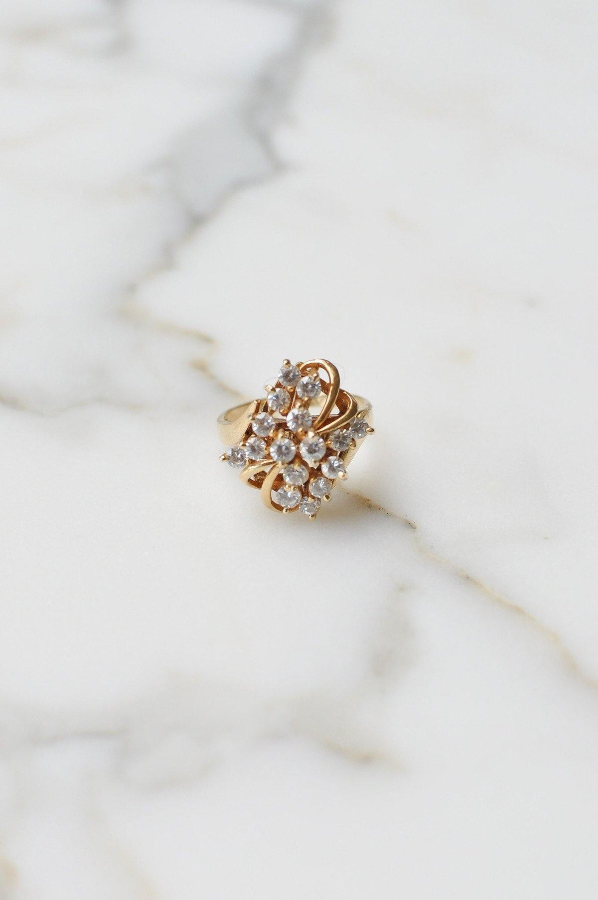 __Gold West Vintage__White Sapphire Floral Ring