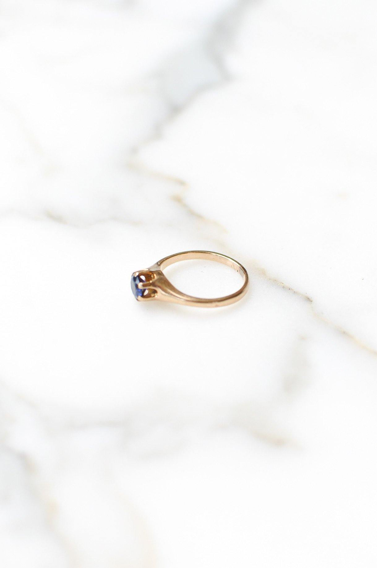 Blue Solitaire Layering Ring