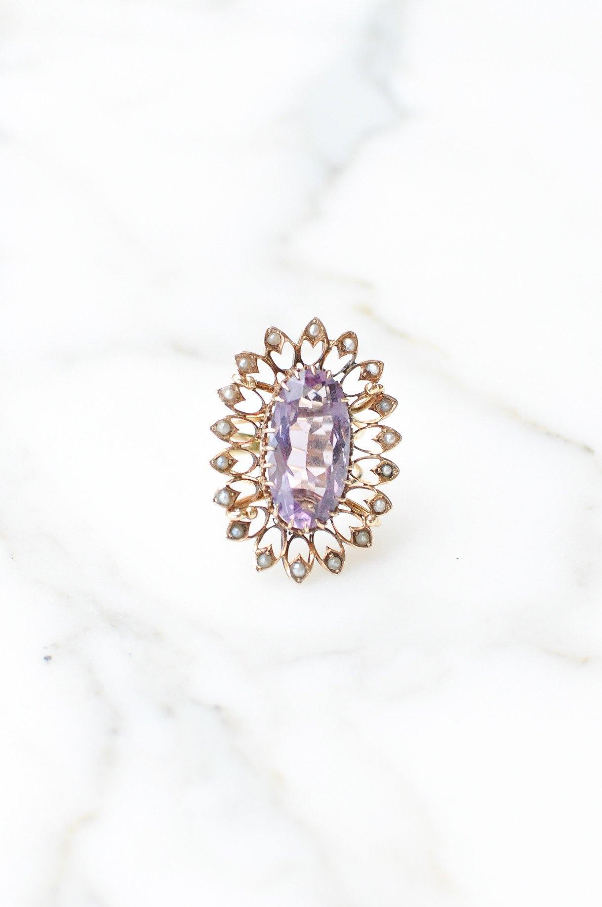 __Gold West Vintage__Amethyst and Seed Pearl Cocktail Ring