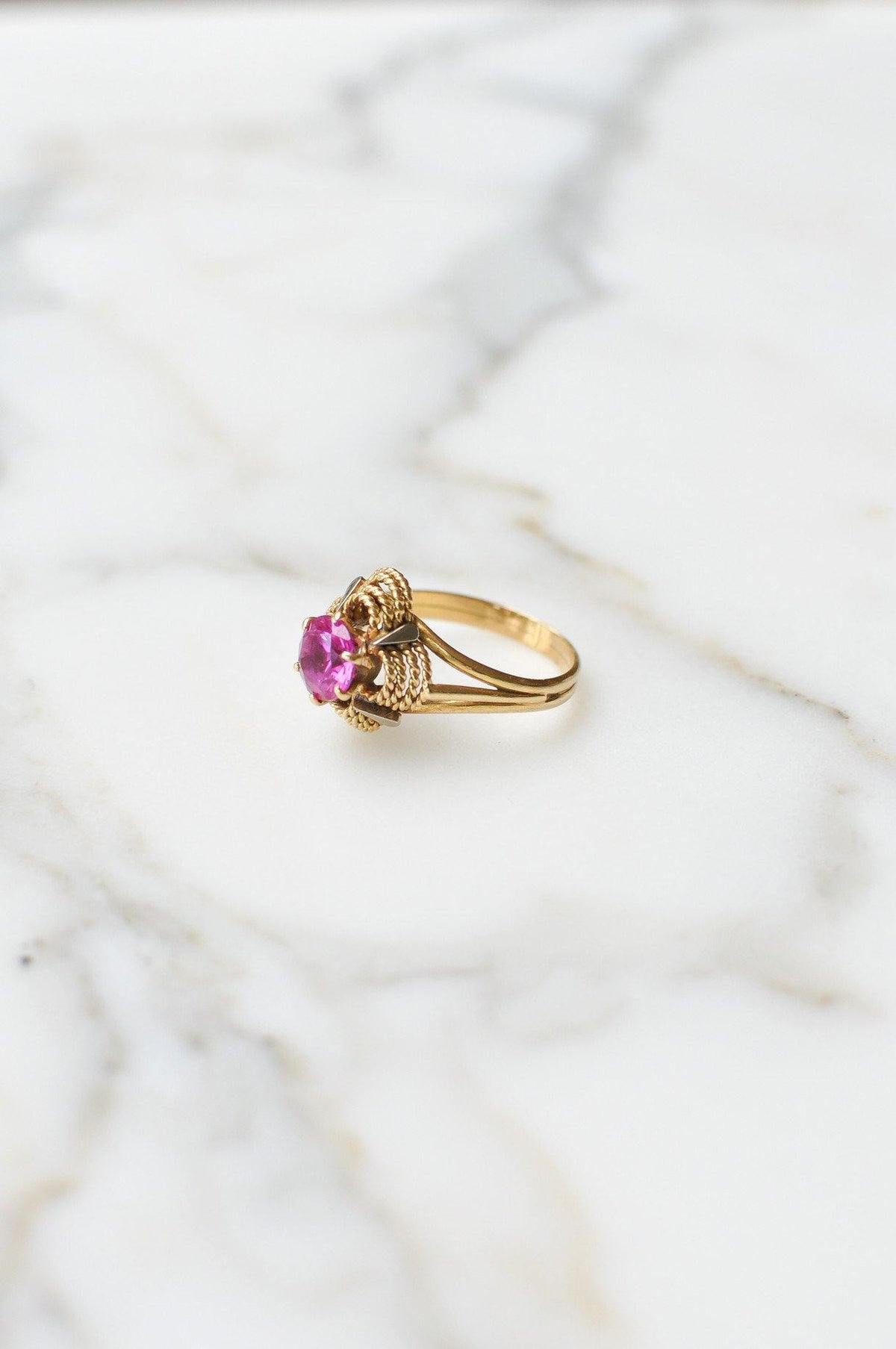 __Gold West Vintage__Fuchsia Cocktail Ring