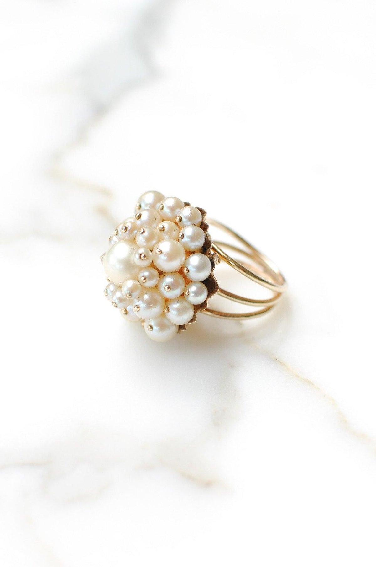 __Gold West Vintage__Clustered Pearl Cocktail Ring