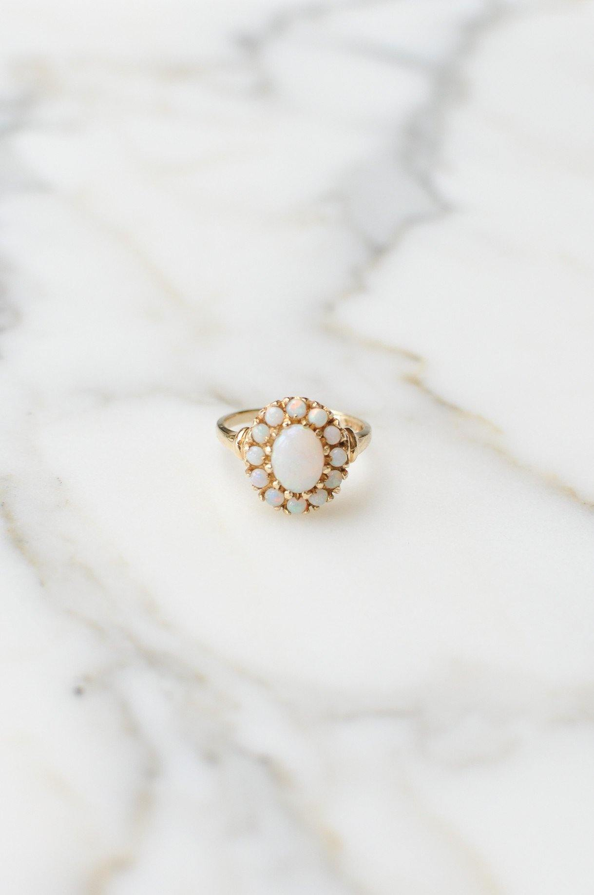 __Gold West Vintage__Australian Opal Cocktail Ring