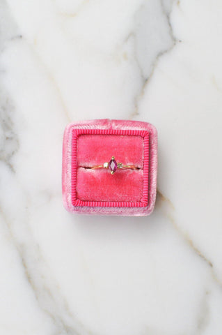 __Gold West Vintage__Pink and Diamond Layering Ring