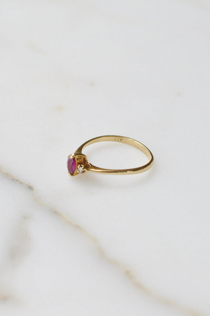 Pink and Diamond Layering Ring