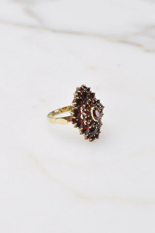 __Gold West Vintage__Almondite Garnet Cluster Ring