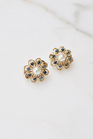 __Gold West Vintage__Gold Floral Sapphire Earrings