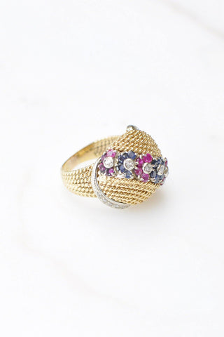 __Gold West Vintage__Gold Ring with Sapphires, Rubies, and Diamonds