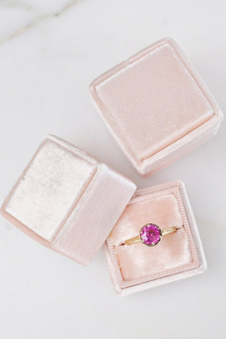 __Gold West Vintage__Pink Solitaire Gemstone Ring