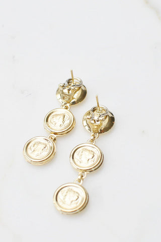__Gold West Vintage__Greek Gold Coin Drop Pierced Earrings