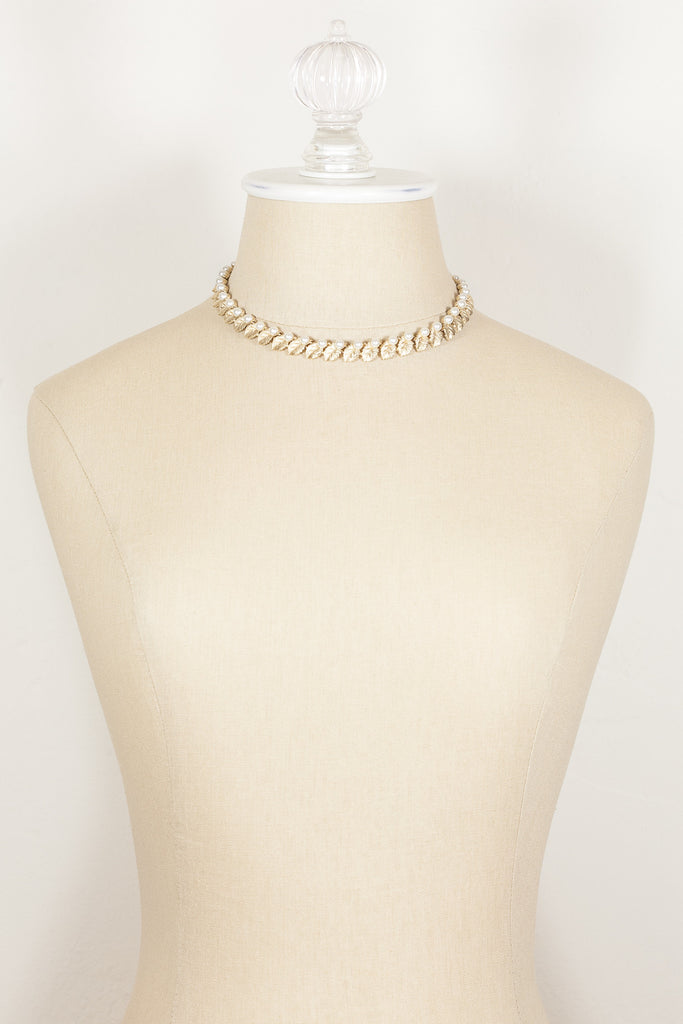 70's__Trifari__Gold Leaf & Pearl Collar