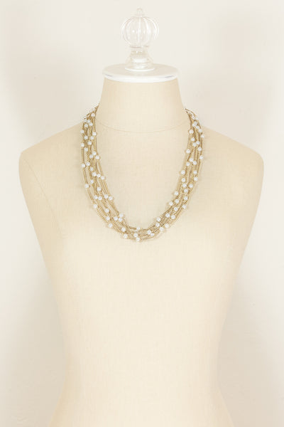 70's__ vintage__Multi Strand Pearl Necklace